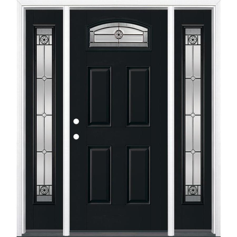 Masonite Decorative Glass Right-Hand Inswing Peppercorn Painted Fiberglass Prehung Entry Door with Insulating Core (Common: 64-in x 80-in; Actual: 37.5-in x 81.625-in)