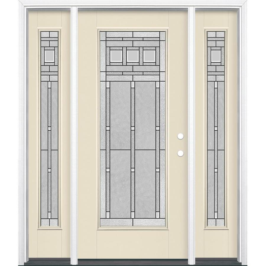 Masonite Craftsman Glass 1-panel Insulating Core Full Lite Left-Hand Inswing Bisque Fiberglass Painted Prehung Entry Door (Common: 36-in x 80-in; Actual: 37.5-in x 81.5-in)