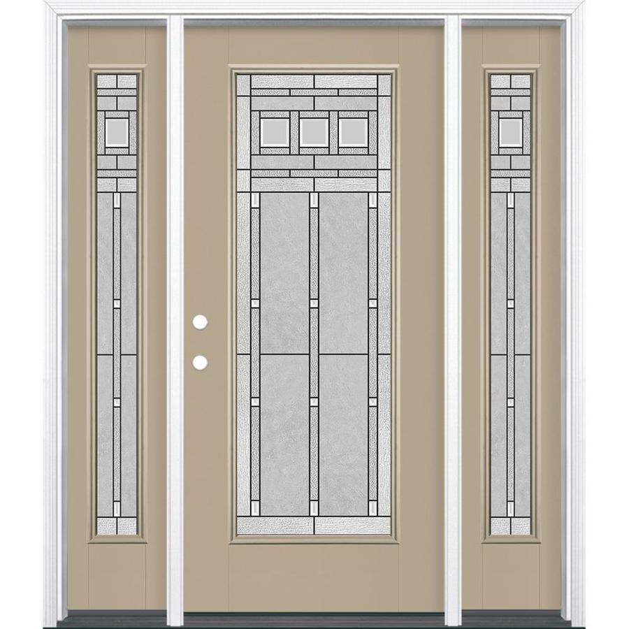 Masonite Right-Hand Inswing Sandy Shore Painted Fiberglass Prehung Entry Door with Sidelights and Insulating Core (Common: 36-in x 80-in; Actual: 37.5-in x 81.5-in)