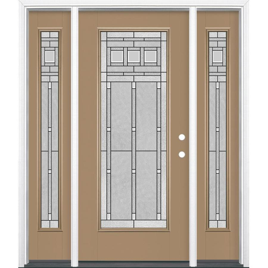 Masonite Craftsman Full Lite Decorative Glass Left-Hand Inswing Warm Wheat Painted Fiberglass Prehung Entry Door With Sidelights Insulating Core (Common: 64-in X 80-in; Actual: 37.5-in x 81.625-in)