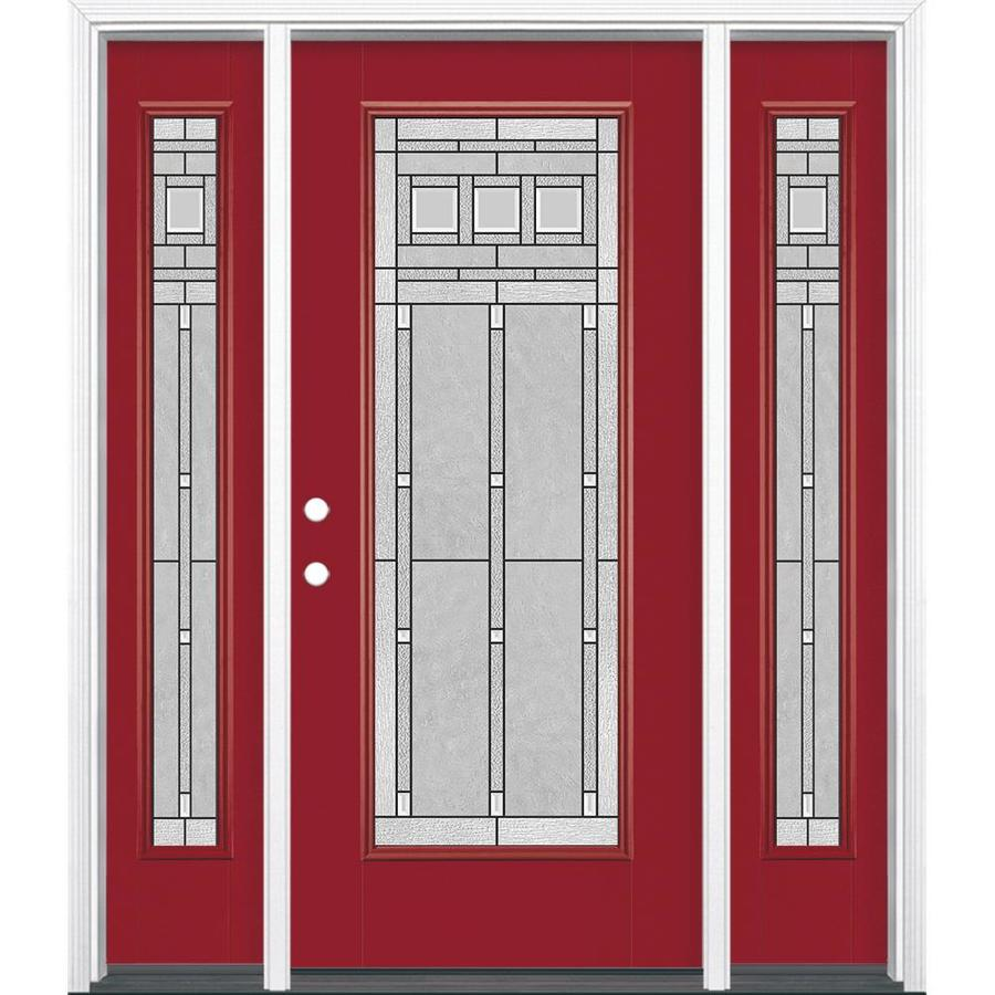 Masonite Craftsman Glass 1-Panel Insulating Core Full Lite Right-Hand Inswing Roma Red Fiberglass Painted Prehung Entry Door (Common: 36-in x 80-in; Actual: 37.5-in x 81.5-in)