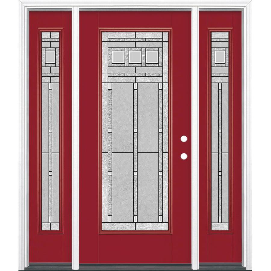 Masonite Left-Hand Inswing Roma Red Painted Fiberglass Prehung Entry Door with Insulating Core (Common: 64-in x 80-in; Actual: 37.5-in x 81.625-in)