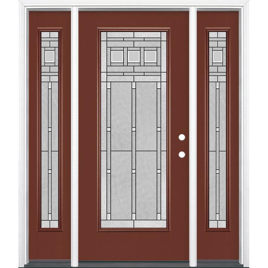 Masonite Left-Hand Inswing Fox Tail Painted Fiberglass Prehung Entry Door with Insulating Core (Common: 64-in x 80-in; Actual: 37.5-in x 81.625-in)