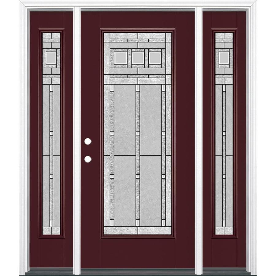 Masonite Right-Hand Inswing Currant Painted Fiberglass Prehung Entry Door with Insulating Core (Common: 64-in x 80-in; Actual: 37.5-in x 81.625-in)