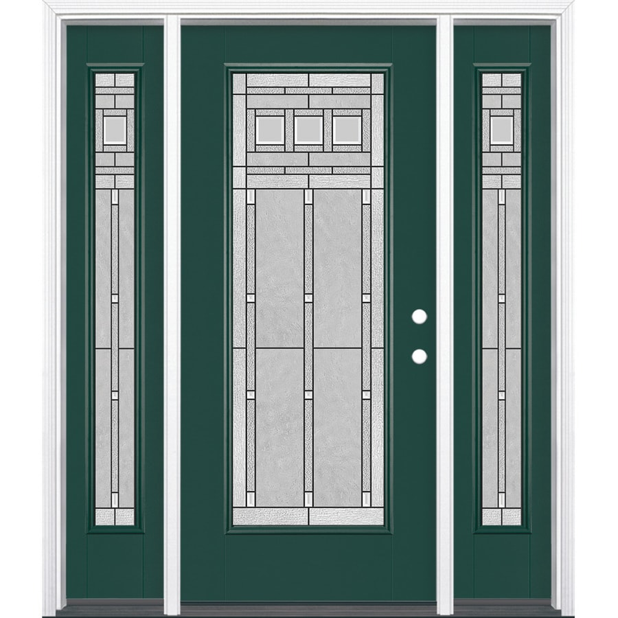 Masonite Craftsman Glass 1-panel Insulating Core Full Lite Left-Hand Inswing Evergreen Fiberglass Painted Prehung Entry Door (Common: 36-in x 80-in; Actual: 37.5-in x 81.5-in)