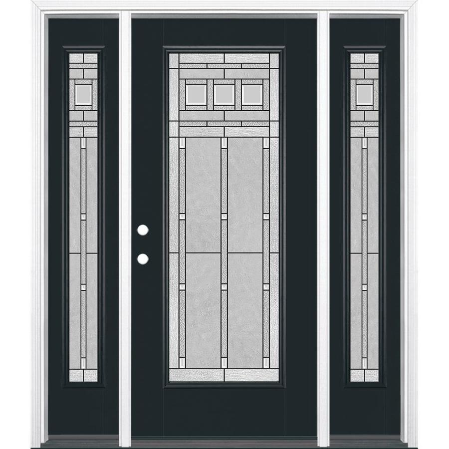 Masonite Right-Hand Inswing Eclipse Painted Fiberglass Prehung Entry Door with Insulating Core (Common: 64-in x 80-in; Actual: 37.5-in x 81.625-in)