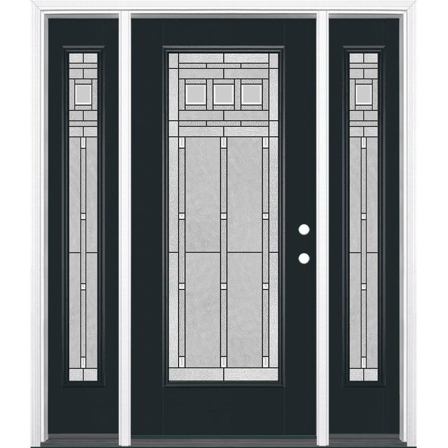 Masonite Left-Hand Inswing Eclipse Painted Fiberglass Prehung Entry Door with Insulating Core (Common: 64-in x 80-in; Actual: 37.5-in x 81.625-in)