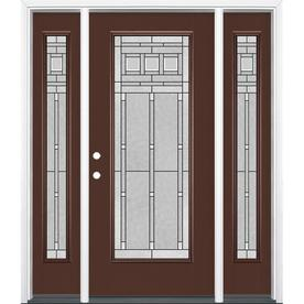 Masonite Craftsman Decorative Glass Painted Fiberglass Prehung Entry Door  With Insulating Core (Common: 64