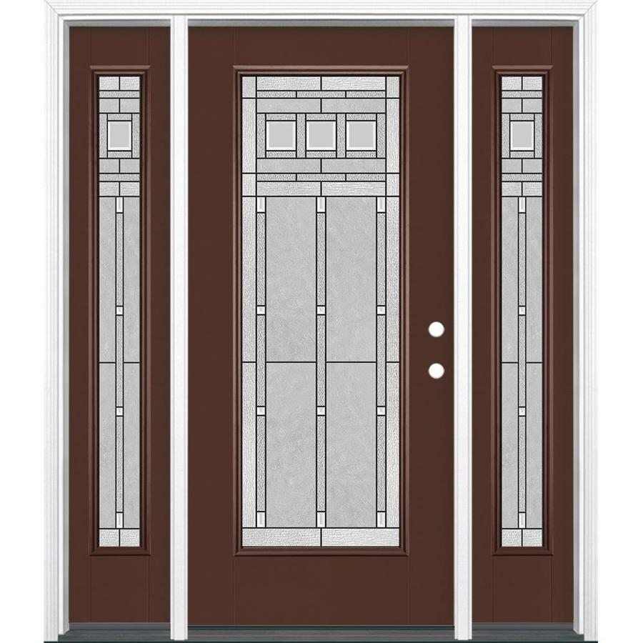 Masonite Craftsman Decorative Glass Left-Hand Inswing Chocolate Painted Fiberglass Prehung Entry Door with Sidelights and Insulating Core (Common: 64-in x 80-in; Actual: 37.5-in x 81.625-in)