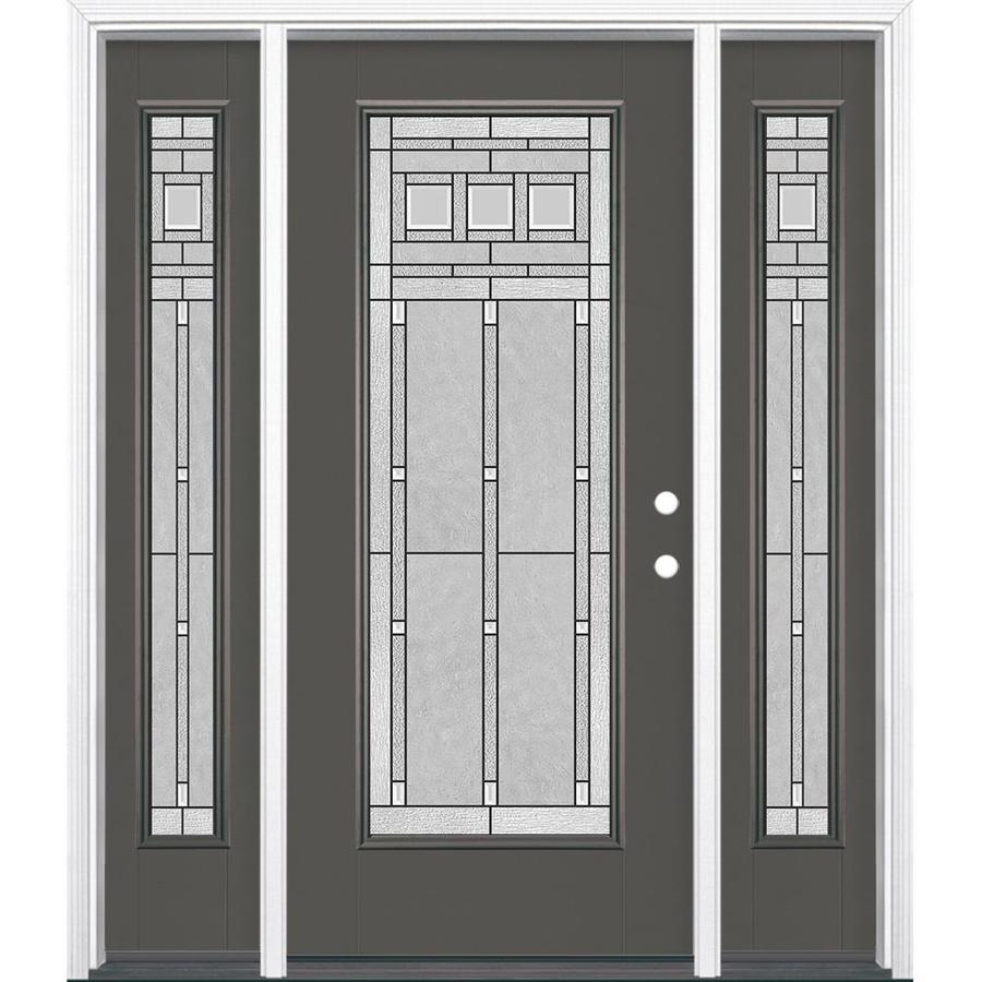 Masonite Craftsman Glass 1-panel Insulating Core Full Lite Left-Hand Inswing Timber Gray Fiberglass Painted Prehung Entry Door (Common: 36-in x 80-in; Actual: 37.5-in x 81.5-in)