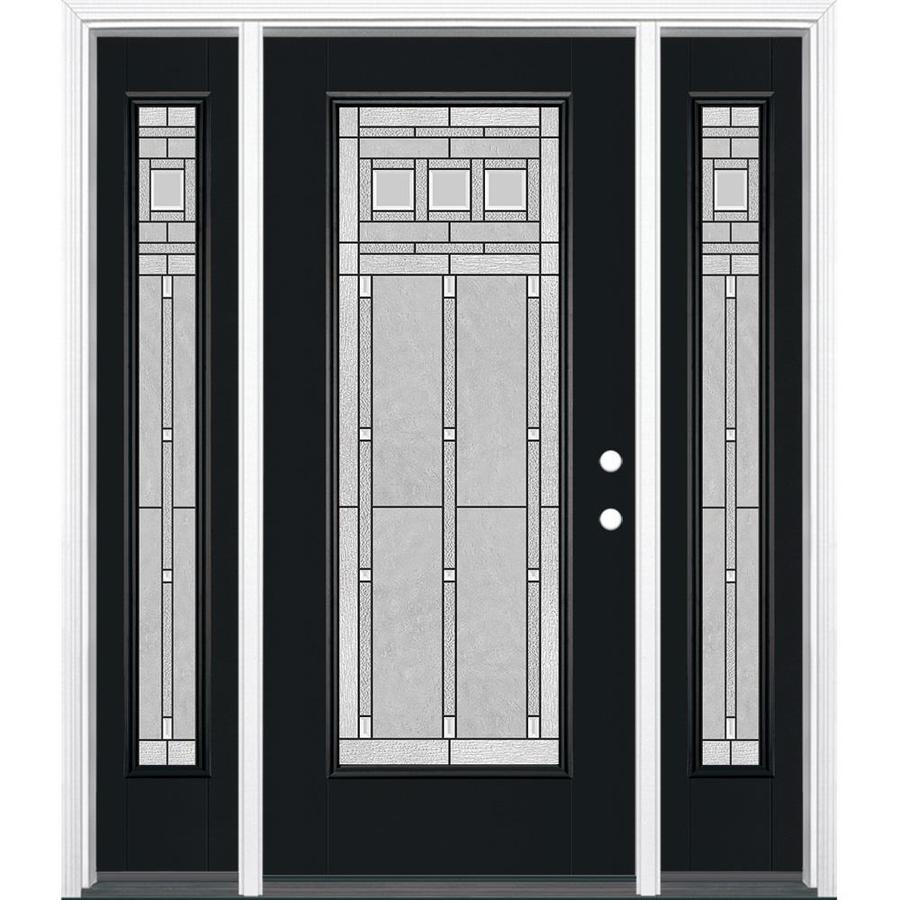 Masonite Left-Hand Inswing Peppercorn Painted Fiberglass Prehung Entry Door with Sidelights and Insulating Core (Common: 36-in x 80-in; Actual: 37.5-in x 81.5-in)