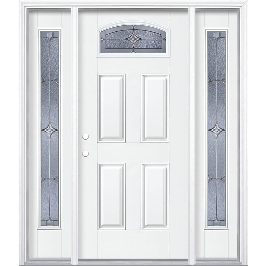 Masonite Astrid Decorative Glass Right-Hand Inswing Arctic White Painted Fiberglass Prehung Entry Door with Sidelights and Insulating Core (Common: 64-in x 80-in; Actual: 37.5-in x 81.625-in)