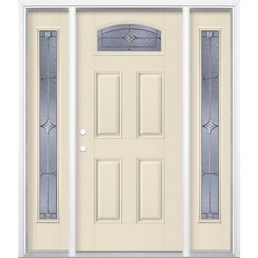 Masonite Astrid 4-panel Insulating Core Morelight Right-Hand Inswing Bisque Fiberglass Painted Prehung Entry Door (Common: 36-in x 80-in; Actual: 37.5-in x 81.5-in)