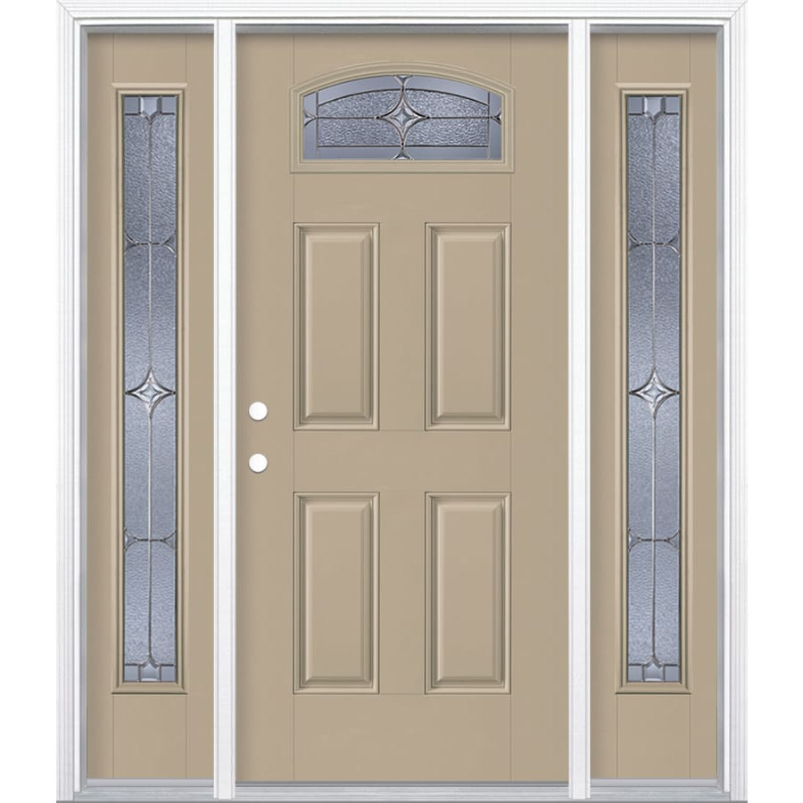 Masonite Astrid Decorative Glass Right-Hand Inswing Sandy Shore Painted Fiberglass Prehung Entry Door with Sidelights and Insulating Core (Common: 64-in x 80-in; Actual: 37.5-in x 81.625-in)