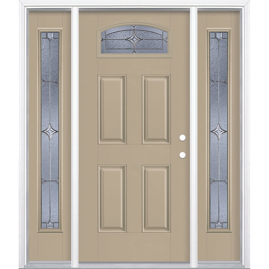 Masonite Astrid Decorative Glass Left-Hand Inswing Sandy Shore Fiberglass Painted Entry Door (Common: 36-in x 80-in; Actual: 37.5-in x 81.5-in)
