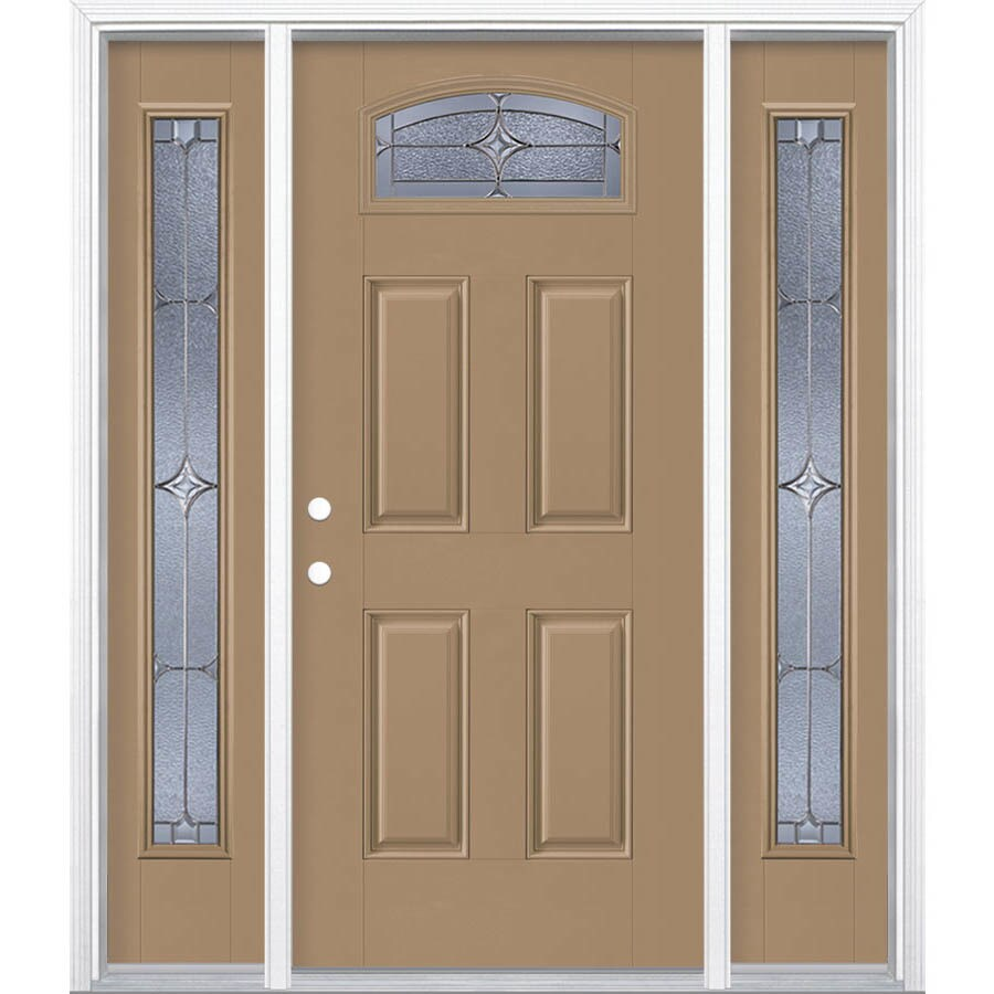 Masonite Astrid Decorative Glass Right-Hand Inswing Warm Wheat Painted Fiberglass Prehung Entry Door with Sidelights and Insulating Core (Common: 64-in x 80-in; Actual: 37.5-in x 81.625-in)