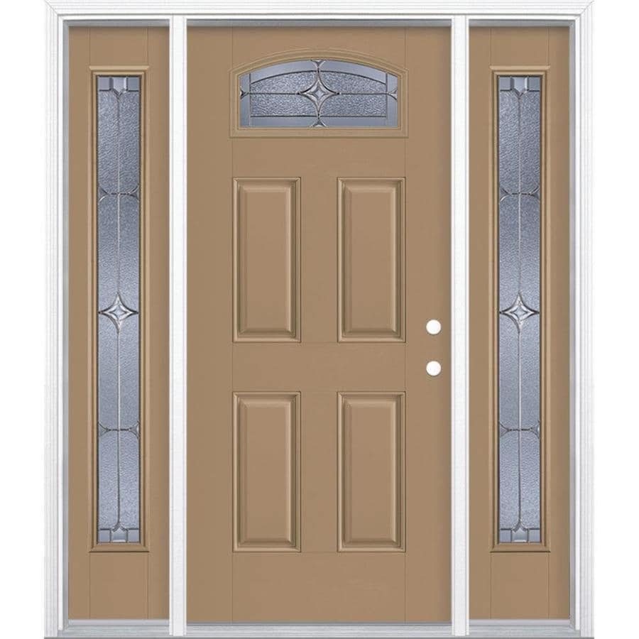 Masonite Astrid 4-panel Insulating Core Morelight Left-Hand Inswing Warm Wheat Fiberglass Painted Prehung Entry Door (Common: 36-in x 80-in; Actual: 37.5-in x 81.5-in)