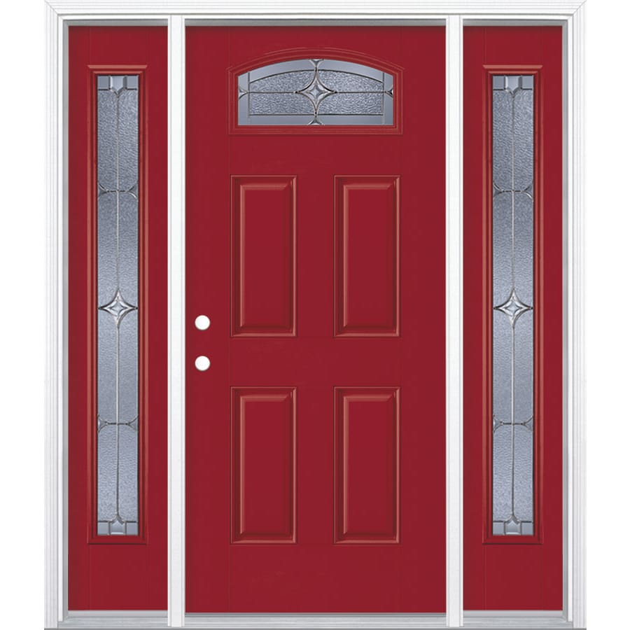 Masonite Astrid Decorative Glass Right-Hand Inswing Roma Red Painted Fiberglass Prehung Entry Door with Sidelights and Insulating Core (Common: 64-in x 80-in; Actual: 37.5-in x 81.625-in)