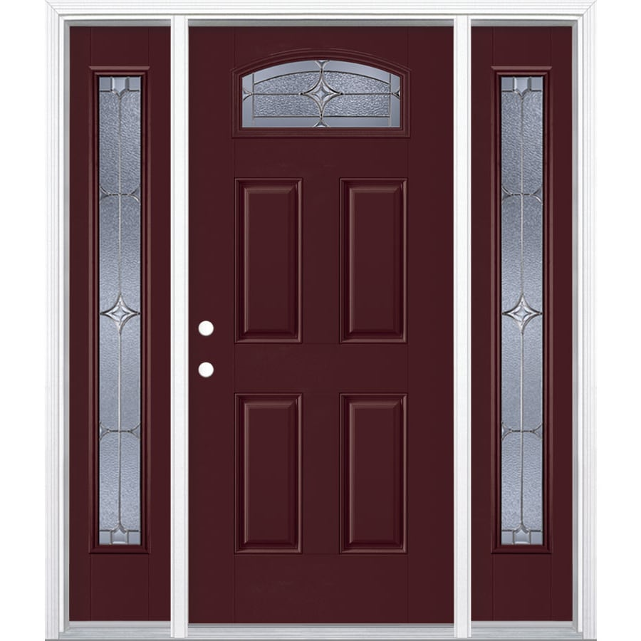 Masonite Astrid Decorative Glass Right-Hand Inswing Currant Painted Fiberglass Prehung Entry Door with Sidelights and Insulating Core (Common: 64-in x 80-in; Actual: 37.5-in x 81.625-in)