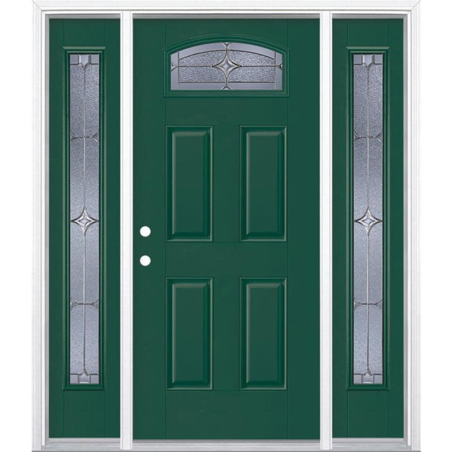 Masonite Astrid Decorative Glass Right-Hand Inswing Evergreen Fiberglass Painted Entry Door (Common: 36-in x 80-in; Actual: 37.5-in x 81.5-in)