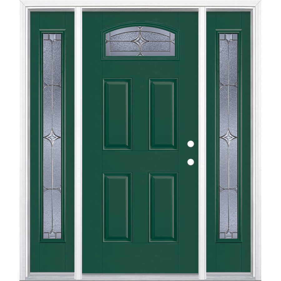 Masonite Astrid Decorative Glass Left-Hand Inswing Evergreen Painted Fiberglass Prehung Entry Door with Sidelights and Insulating Core (Common: 64-in x 80-in; Actual: 37.5-in x 81.625-in)