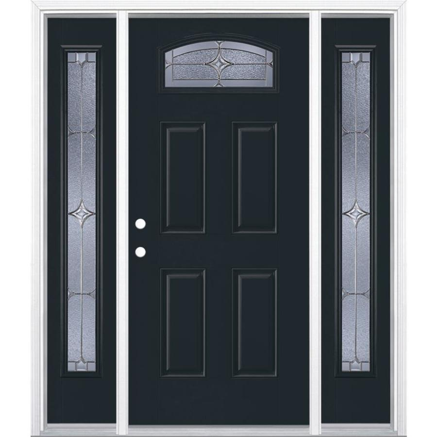 Masonite Astrid 4-panel Insulating Core Morelight Right-Hand Inswing Eclipse Fiberglass Painted Prehung Entry Door (Common: 36-in x 80-in; Actual: 37.5-in x 81.5-in)