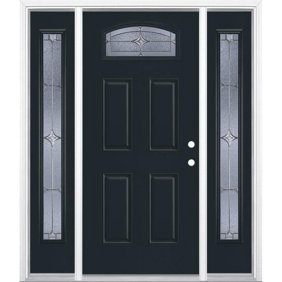 Masonite Astrid 1/4 Lite Decorative Glass Left-Hand Inswing Eclipse Painted Fiberglass Prehung Entry Door with Sidelights and Insulating Core (Common: 64-in X 80-in; Actual: 37.5-in x 81.625-in)