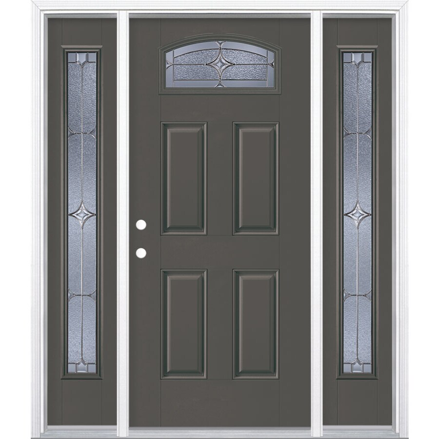 Shop masonite astrid decorative glass right hand inswing for Fiberglass entry doors with sidelights
