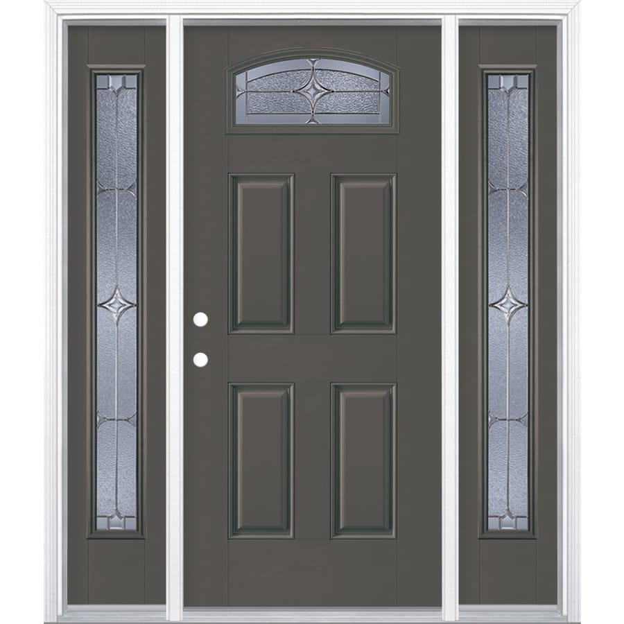 Masonite Astrid Decorative Glass Right-Hand Inswing Timber Gray Painted Fiberglass Prehung Entry Door with Sidelights and Insulating Core (Common: 64-in x 80-in; Actual: 37.5-in x 81.625-in)