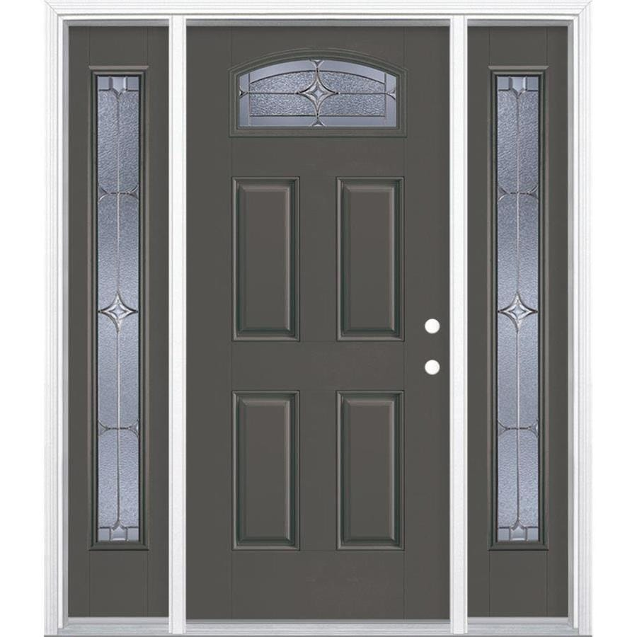 Shop Masonite Astrid 1 4 Lite Decorative Glass Left Hand Inswing Timber Gray Painted Fiberglass