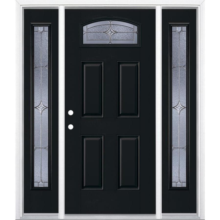 Masonite Astrid Decorative Glass Right-Hand Inswing Peppercorn Painted Fiberglass Prehung Entry Door with Sidelights and Insulating Core (Common: 64-in x 80-in; Actual: 37.5-in x 81.625-in)