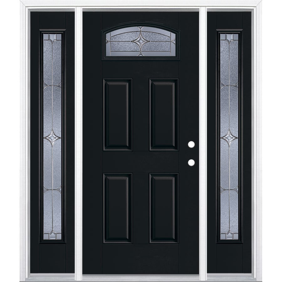 Masonite Astrid 1/4 Lite Decorative Glass Right-Hand Inswing Peppercorn Painted Fiberglass Prehung Entry Door with Sidelights and Insulating Core (Common: 64-in X 80-in; Actual: 37.5-in x 81.625-in)
