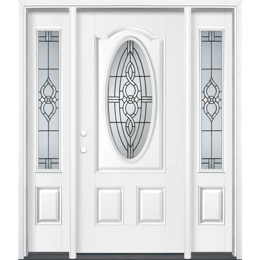 Masonite Calista Decorative Glass Right-Hand Inswing Arctic White Painted Fiberglass Prehung Entry Door with Sidelights and Insulating Core (Common: 64-in x 80-in; Actual: 37.5-in x 81.625-in)
