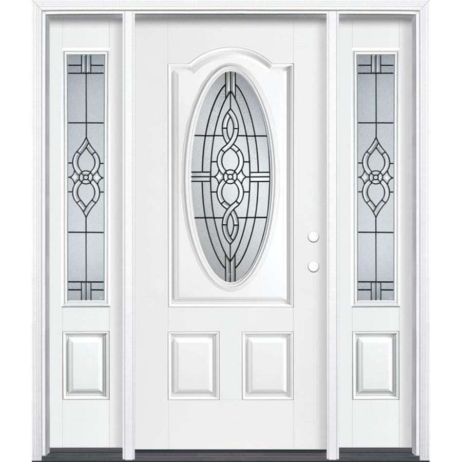 Masonite Calista Decorative Glass Left-Hand Inswing Arctic White Painted Fiberglass Prehung Entry Door with Sidelights and Insulating Core (Common: 64-in x 80-in; Actual: 37.5-in x 81.625-in)