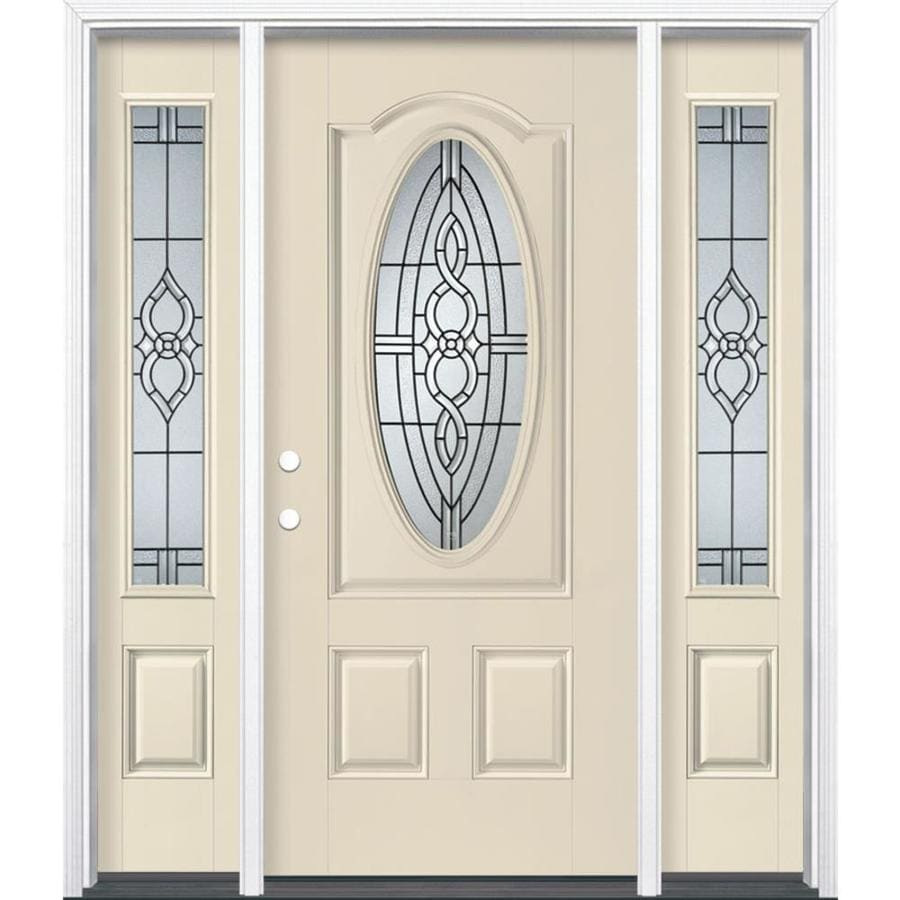 Masonite Calista 3-panel Insulating Core Oval Lite Right-Hand Inswing Bisque Fiberglass Painted Prehung Entry Door (Common: 36-in x 80-in; Actual: 37.5-in x 81.5-in)