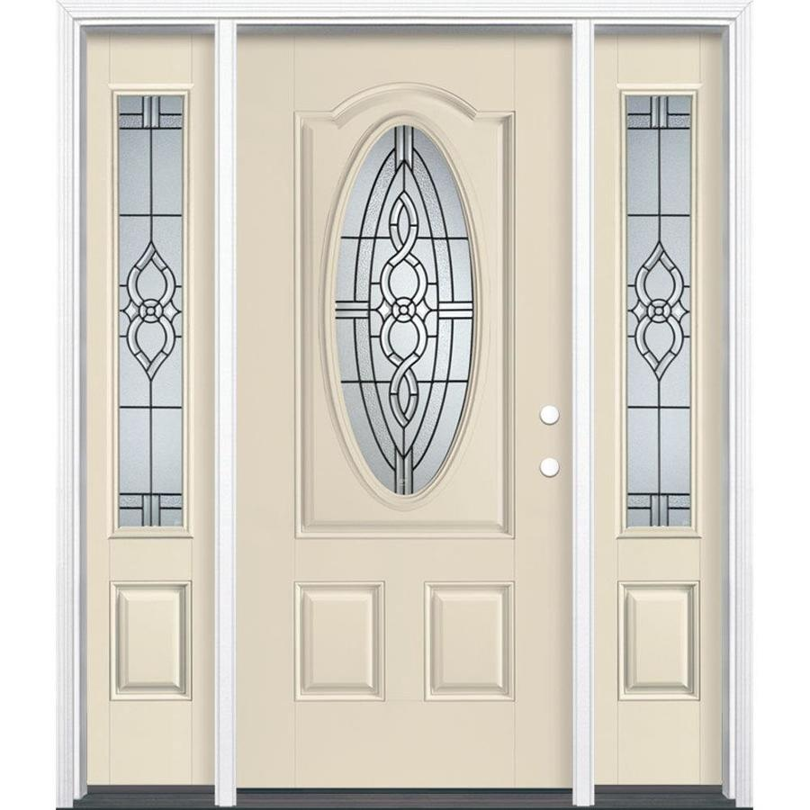 Shop masonite calista decorative glass left hand inswing bisque painted fiberglass prehung entry for Lowes exterior doors with sidelites