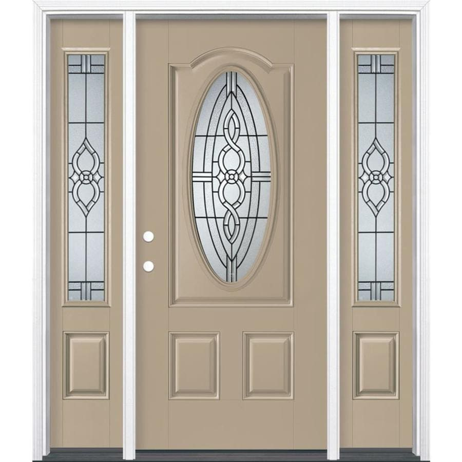 Masonite Calista 3-panel Insulating Core Oval Lite Right-Hand Inswing Sandy Shore Fiberglass Painted Prehung Entry Door (Common: 36-in x 80-in; Actual: 37.5-in x 81.5-in)