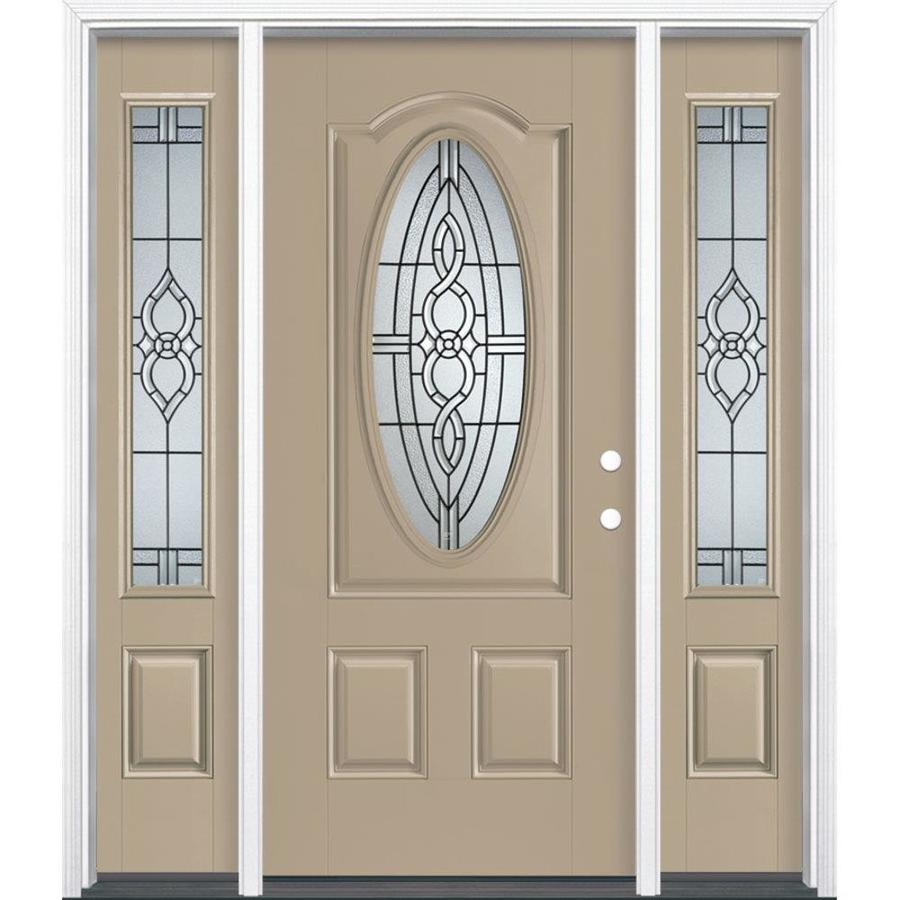 Masonite Calista Decorative Glass Left-Hand Inswing Sandy Shore Painted Fiberglass Prehung Entry Door with Sidelights and Insulating Core (Common: 64-in x 80-in; Actual: 37.5-in x 81.625-in)