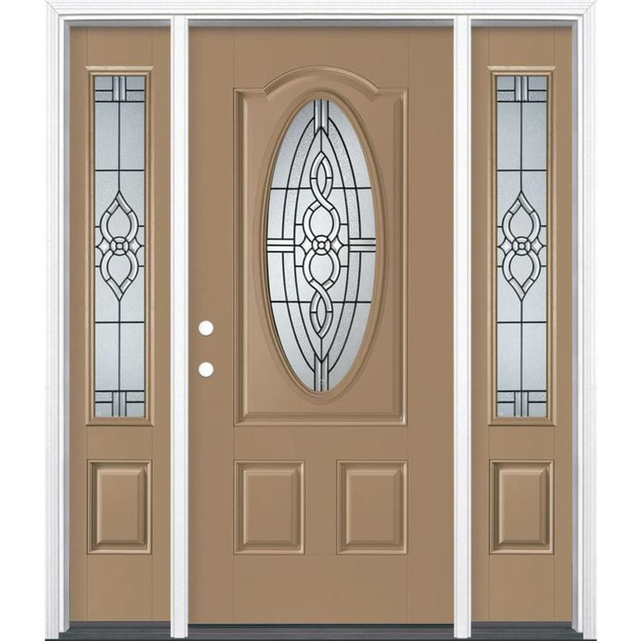 Masonite Calista Decorative Glass Right-Hand Inswing Warm Wheat Painted Fiberglass Prehung Entry Door with Sidelights and Insulating Core (Common: 64-in x 80-in; Actual: 37.5-in x 81.625-in)