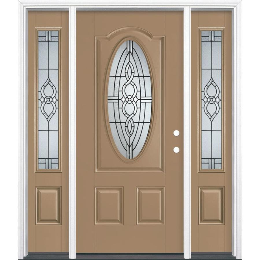 Masonite Calista Decorative Glass Left-Hand Inswing Warm Wheat Fiberglass Painted Entry Door (Common: 36-in x 80-in; Actual: 37.5-in x 81.5-in)