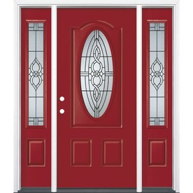 Masonite Calista Decorative Glass Right Hand Inswing Roma Red Painted  Fiberglass Prehung Entry Door With