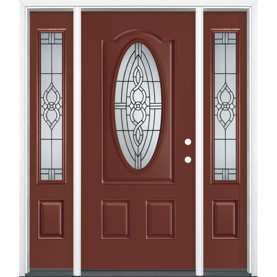 Masonite Calista 3-panel Insulating Core Oval Lite Left-Hand Inswing Fox Tail Fiberglass Painted Prehung Entry Door (Common: 36-in x 80-in; Actual: 37.5-in x 81.5-in)