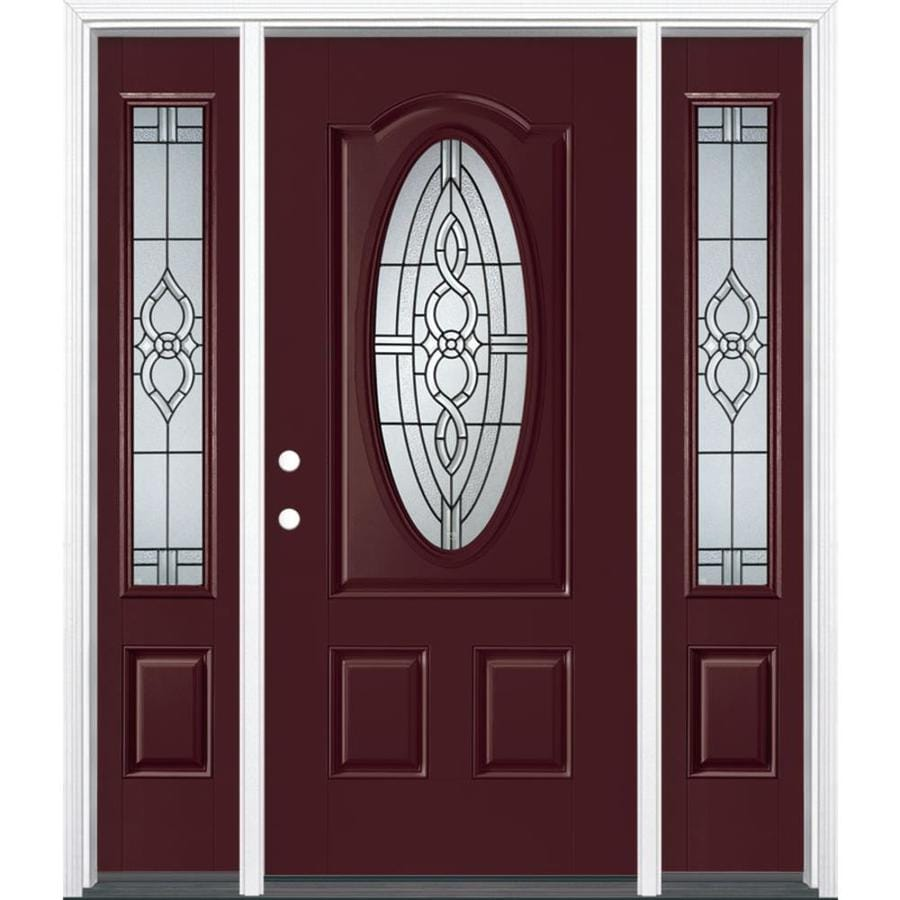 Masonite Calista 3-panel Insulating Core Oval Lite Right-Hand Inswing Currant Fiberglass Painted Prehung Entry Door (Common: 36-in x 80-in; Actual: 37.5-in x 81.5-in)