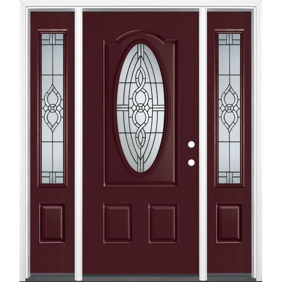 Shop masonite calista decorative glass left hand inswing currant painted fiberglass prehung for Lowes exterior doors with sidelites