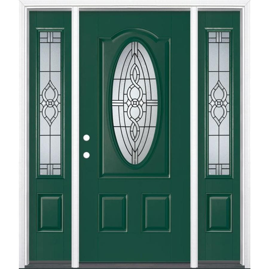 Masonite Calista Decorative Glass Right-Hand Inswing Evergreen Painted Fiberglass Prehung Entry Door with Sidelights and Insulating Core (Common: 64-in x 80-in; Actual: 37.5-in x 81.625-in)