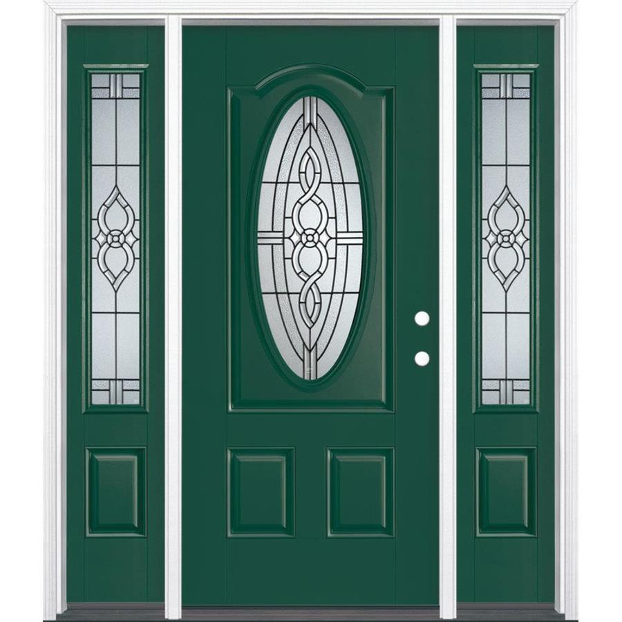 Masonite Calista Decorative Glass Left-Hand Inswing Evergreen Fiberglass Painted Entry Door (Common: 36-in x 80-in; Actual: 37.5-in x 81.5-in)
