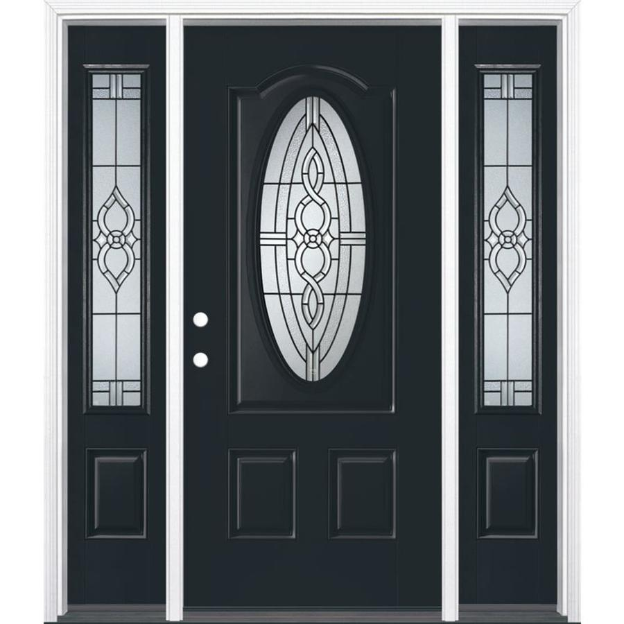 Masonite Calista 3-panel Insulating Core Oval Lite Right-Hand Inswing Eclipse Fiberglass Painted Prehung Entry Door (Common: 36-in x 80-in; Actual: 37.5-in x 81.5-in)
