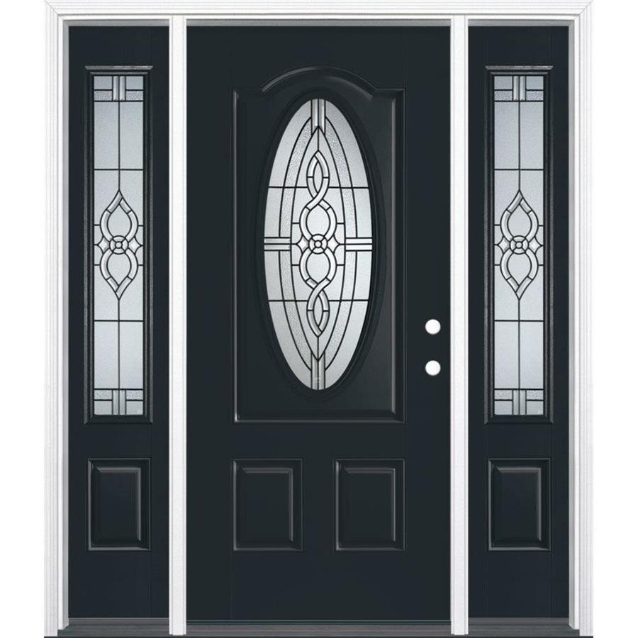 Masonite Calista Decorative Glass Left-Hand Inswing Eclipse Painted Fiberglass Prehung Entry Door with Sidelights and Insulating Core (Common: 64-in x 80-in; Actual: 37.5-in x 81.625-in)