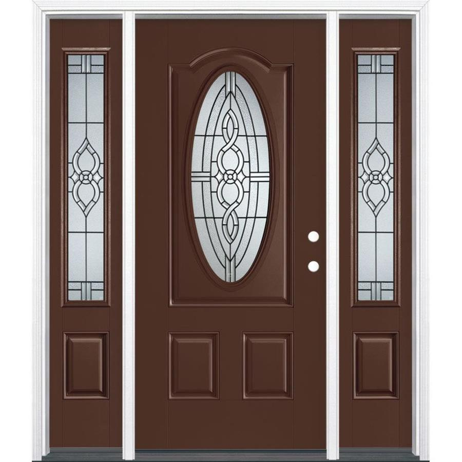 Masonite Calista Decorative Glass Left-Hand Inswing Chocolate Fiberglass Painted Entry Door (Common: 36-in x 80-in; Actual: 37.5-in x 81.5-in)