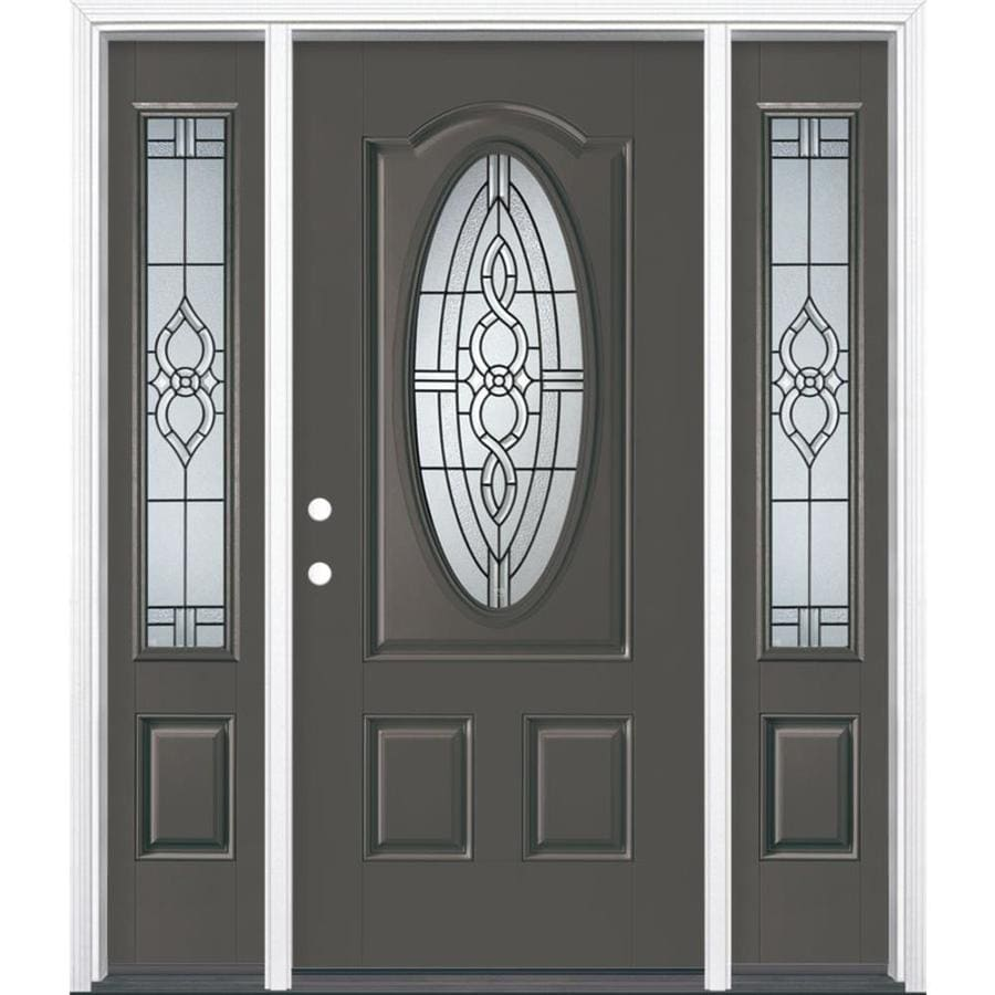 Masonite Calista Decorative Glass Right-Hand Inswing Timber Gray Painted Fiberglass Prehung Entry Door with Sidelights and Insulating Core (Common: 64-in x 80-in; Actual: 37.5-in x 81.625-in)